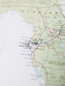 Map of Tampa in Florida, USA, North America. ** Note: Shallow depth of field