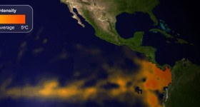 El Niño, warmer than average waters in the Eastern equatorial Pacific (shown in orange on the map), affects weather around the world. Image: NOAA