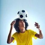 Soccer football player header ball with skill