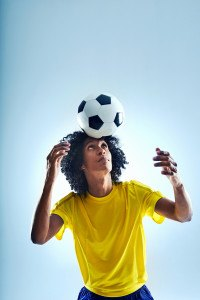 Soccer football player header ball with skill