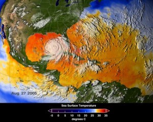 This map of ocean surface temperatures shows how warm waters in the North Atlantic fueled Hurricane Katrina. UCI researchers have found that the same conditions heighten fire risk in the Amazon basin. Image: Scientific Visualization Studio, NASA's Goddard Space Flight Center