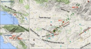 Setting of the La Habra quake. UAVSAR observations spanning the La Habra earthquake. Setting of the La Habra quake. Red dots show the magnitude 5.1 main shock, magnitude 4.1 aftershock and magnitude 5.4 Chino quake in 2008. Relocated aftershocks are green dots. Modeled faults are in brown, with the heavier reddish brown line denoting the bottom of the fault and labeled with italics.Credit: NASA/JPL-Caltech