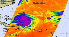 On Sept. 30 at 2:11 a.m. EDT the AIRS instrument aboard NASA's Aqua satellite provided this infrared look at Hurricane Joaquin's strongest storms with coldest cloud tops circling the center (in purple). Credits: NASA JPL, Ed Olsen