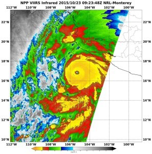 When NASA-NOAA's Suomi NPP satellite passed over Patricia on October 23 at 5:23 a.m. EDT the VIIRS instrument that flies aboard Suomi NPP looked at the storm in infrared light. Cloud top temperatures of thunderstorms around the eyewall were near minus 90 Celsius (minus 130 Fahrenheit). Credits: NRL/NASA/NOAA
