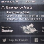 This alert was sent by the Massachusetts Emergency Management Agency during the April 15, 2013, Boston Marathon Bombing response. Photo: FEMA/Hans Yu