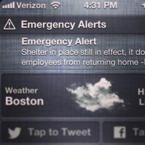 This alert was sent by the Massachusetts Emergency Management Agency during the April 15, 2013, Boston Marathon Bombing response. Photo: FEMA/Hans Yu