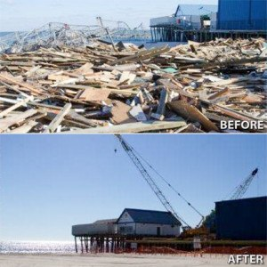 Seaside Heights, N.J., October 28, 2013 -- A before and after image of the damage sustained to the Seaside Heights Pier following Hurricane Sandy. Photo by Liz Roll/FEMA
