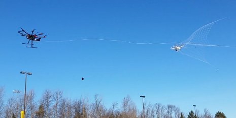 Mo Rastgaar's drone catcher speeds toward its target drone. Photo: Michigan Technological University