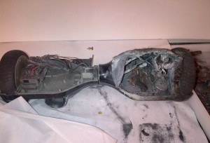 Burned hoverboard. Photo: CPSC