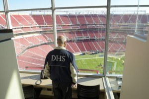 Secretary Johnson looks out over Levi's Stadium, where security preparations are ongoing for Super Bowl 50. (DHS Photo/Jetta Disco)