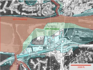 In this Federal Emergency Management Agency map of the Meramec River near Valley Park, Mo., the light blue corresponds to the floodplain area that can be expected to be inundated in a 100-year flood. The green and brown areas together are the river's floodway as it was defined in 1995. This is the area that by law must be kept free of encroachments. The floodway was redrawn and substantially narrowed in 2015 (brown) and the landfill (squared off pyramid) that once encroached on the floodway now lies outside of it. Image: Bob Chriss/FEMA