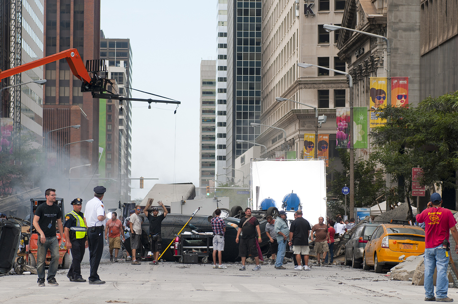 "CLEVELAND OH - AUGUST 17 2011: Production of the blockbuster movie ""The Avengers"" takes place on a blocked-off street revamped to look like New York City on August 17 2011 in Cleveland."