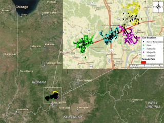 A map illustrating the path of the March 2012 tornado and the survey respondents. (Photo provided by Arif Sadri)
