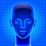 Three dimensional futuristic artificial head in blue light as me