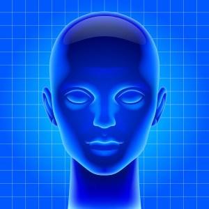 Three dimensional futuristic artificial head in blue light as me