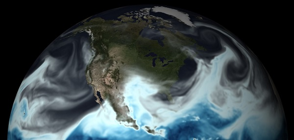 NOAA's powerful Global Forecast System model was upgraded today, providing forecasters with a more accurate 4D picture of how a weather system will evolve. Gray, blue and white colors depict moisture in the atmosphere on May 11, 2016, over North America. (NOAA)
