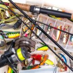 Fishing Tackles - Rod, Reel, Line And Lures In Box
