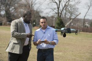 Lanier A. Watkins, left, a Johns Hopkins cybersecurity research scientist, worked with five graduate students, including Michael Hooper, right, to determine that the technology used in a hobby drone was vulnerable to hacking. Photo: Will Kirk/Johns Hopkins University