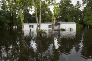 Floodwater surrounds a home in Prairieville, La. (Photo by J.T. Blatty/FEMA)