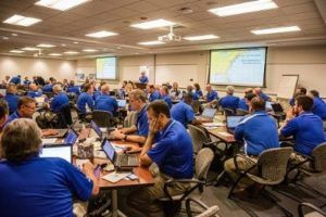 Allstate claim personnel turn conference room into command center to prep for approaching storm.