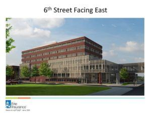 Erie Insurance will build a new office building on its existing home office campus in downtown Erie, Pa. Construction is expected to begin in spring 2017, and last about three years. (PRNewsFoto/Erie Insurance)