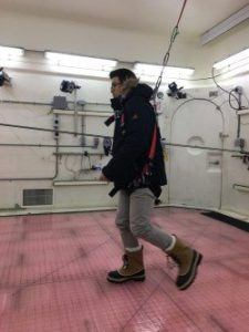 Toronto Rehab researchers explore the science behind winter footwear by testing the slip resistance of shoes and boots in WinterLab. Photo credit: UHN